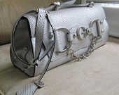 Vintage GUESS Satchel in metallic silver vinyl material MINT condition