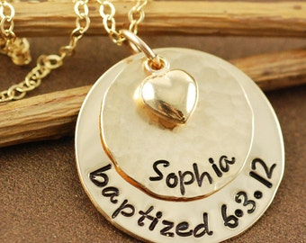 Hand Stamped Necklace, Personalized Gold Necklace, Gold Heart, Baptized Necklace, Family Personalized Necklace, Baptism