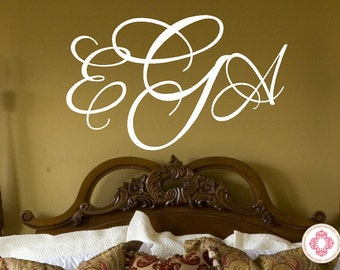 Three Initial Script Monogram Decal - Baby Nursery Master Bedroom Wedding Decor 22 INCHES H X 36 Inches Pd0039