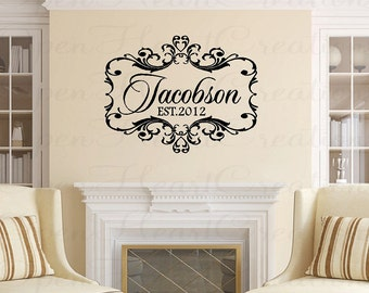 Family Name Wall Decal - Wedding Vinyl Decals - Family Name Monogram - Wall Decals for Entrway Masterbedroom 28H x 38W PD0040
