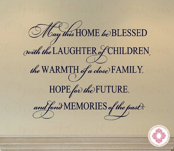 Family Vinyl Decal Quote May This Home Be Blessed With The