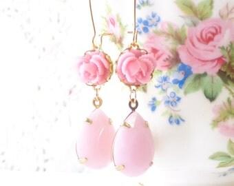 Pretty In Pink - Vintage Jewel Flower Earrings - Pink Rhinestone - Ruffled Rose - Bridal - Pink Dangle Earrings