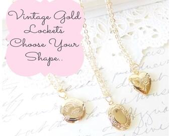 Tiny Gold Vintage Locket - Oval Locket - Round Locket - Heart Locket - Choose Your Shape