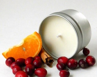Soy Candle / 6 oz Tin / Cranberry Orange Scented Candle Tin