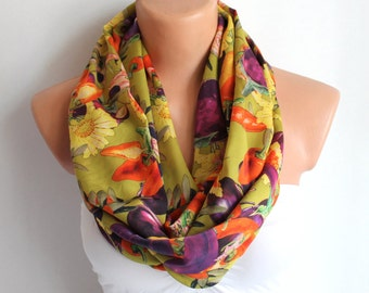 SALE Infinity Scarf Green Loop Scarf Circle Scarf Cowl Scarf Soft and Lightweight Vegetable Garden
