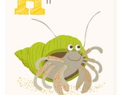 ABC card, H is for Hermit Crab, ABC wall art, alphabet flash cards, nursery wall decor for kids