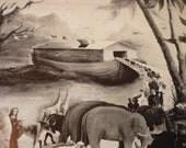 Vintage Folk Art - Noah's Ark - Fine Art Print - 1950s ephemera