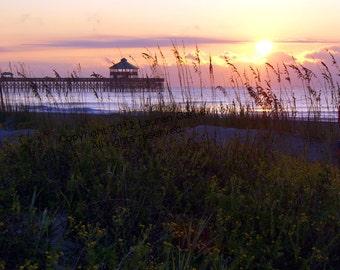 Folly Sunrise - Charleston Beach Sunset Photography South Carolina Ocean Pier Orange Yellow Purple Pink Black Art Print - 8x10 Photograph