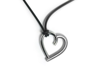 Open Heart Necklace in Stainless Steel Modern Design