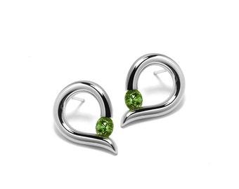 Teardrop Shaped Peridot Stud Earrings Tension Set in Steel Stainless