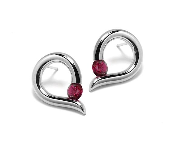 Garnet Teardrop Shaped Stud Earrings Tension Set in Steel Stainless