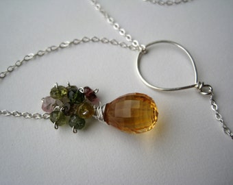 Citrine Briolette, Tourmaline and Smokey topaz rondelle Lariat Necklace