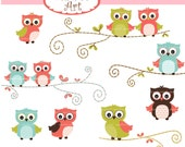 Owl Animals Clip Art // Animals Clipart,Owls on the Branch,Summer Owl clip art,Woodland Owl,Orange Owls,Orange green owls
