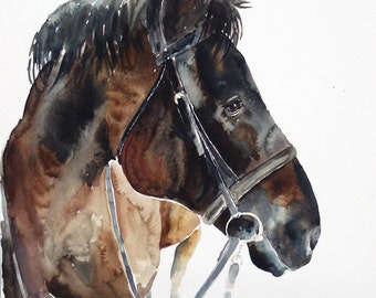 Custom  PET PORTRAIT of your horse Original watercolor painting 11x14inch
