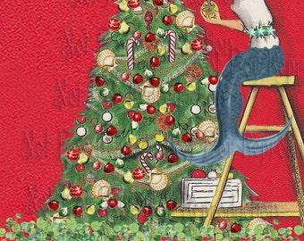cm1 VINTAGE CHRISTMAS FABRIC Tree Retro Mermaid Fabric Blocks Mermaid Applique for Quilts.