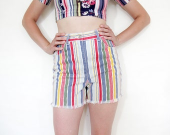 Vintage shorts / colorful striped jean shorts / summer cutoffs / size M
