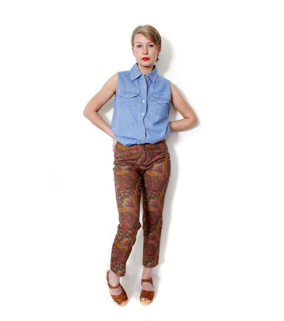Vintage pants / 90s paisley trousers / size S