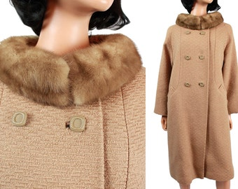 Mink Fur Collar Coat Sz M L - Vintage 50s 60s Light Brown Tan Wool Long  Winter Jacket Size Large Stevens Hockanum Montera FREE US Shipping
