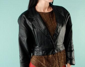 Vintage Leather Jacket Black Cropped Waist 80s Rocker Small