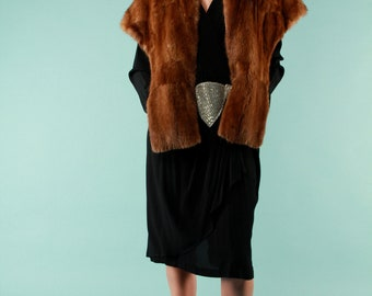 Vintage Mink Fur Wrap Shawl Stole Cape 50s Auburn Hollywood Glam