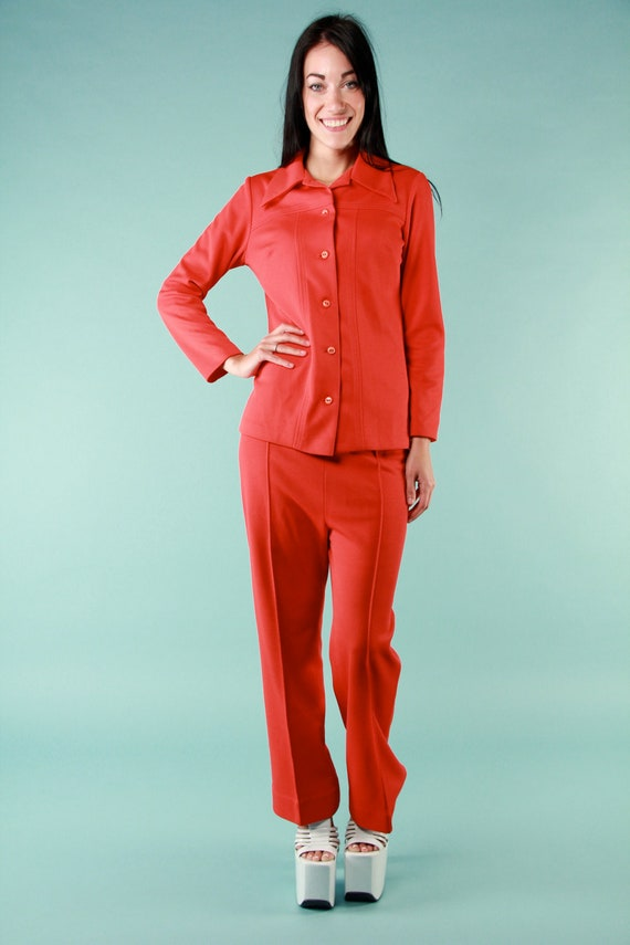 Vintage Red 70s Groovy Disco Pant Shirt Suit - Small