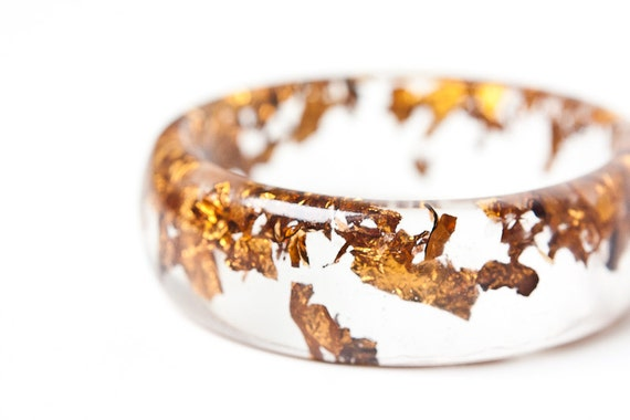 Resin Bangle Bracelet Copper Gold Flakes Wide Cuff OOAK brown boho minimalist jewelry rusteam