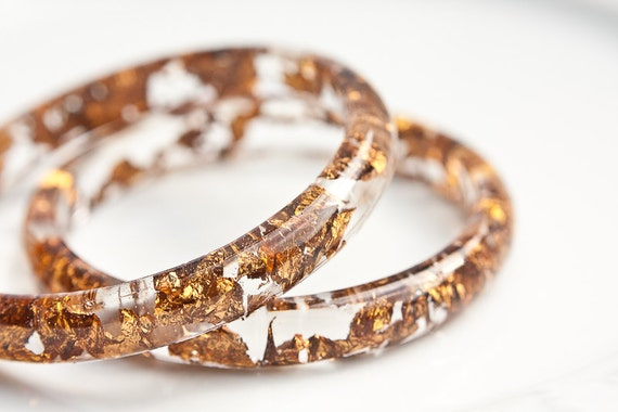 Resin Bangle Bracelet Copper Gold Flakes Smooth Stackable bangle Small Cuff OOAK rusteam glam brown fashion