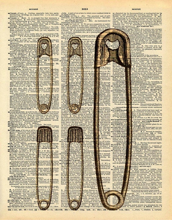 Safety Pins Print - Vintage Dictionary Print - Upcycled Vintage Book Print - Punk Art - Sewing Room Decor - Altered Book Art