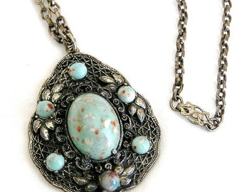 Turquoise Cabochon Pendant Necklace with Intricate Silver Tone Filigree