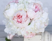 Silk Bride Bouquet Peony Peonies Shabby Chic Vintage Inspired Rustic Wedding (Item Number 140271)