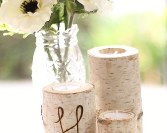 Personalized Birch Bark Candle Holders Rustic Chic Wedding Decor