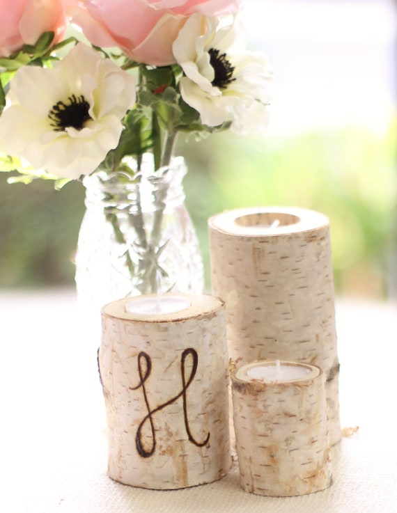 Personalized Birch Bark Candle Holders Rustic Home Decor Christmas