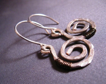 Free Holiday Gift Wrap - Hand Hammered Sterling Silver Fibonacci  G Clef Earrings