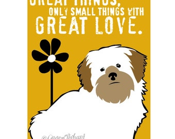 Lhasa Apso Dog Art Print Wall Decor Mother Theresa Quote