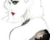 Print from original watercolor pen and charcoal fashion illustration by Jessica Durrant, titled The Vamp