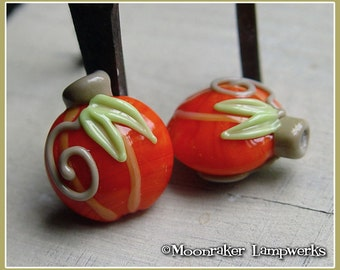 Orange Pumpkin Lentil Halloween Fall Lampwork Bead