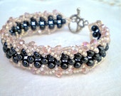 Bracelet Black Pink Beaded Pearls Crystals