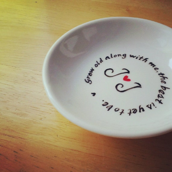 CUSTOM - Hand Painted Ring Dish -Your Favorite Quote - Heart - LOVE - Valentine