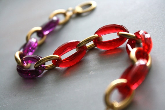 LAST ONE - Arm Candy - cherry red and deep amethyst purple gold link bracelet - fashion valentine gift for her under 15