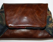 Free shipping - Handmade womens leather and fabric hip wallet that attaches to a belt
