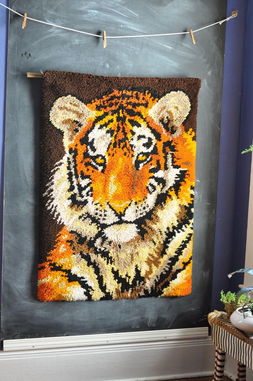 Vintage Huge Tiger Latch Hook Rug Wall Hanging Tapestry