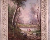 SALE NOW 15.00 Oil painting on canvas sweet vintage oil painting