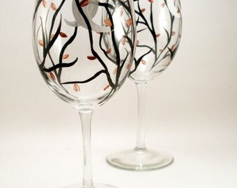 Hand painted wine glasses, crescent moon and Autumn leaves, Fall table setting, Autumn painted glassware, set of 2