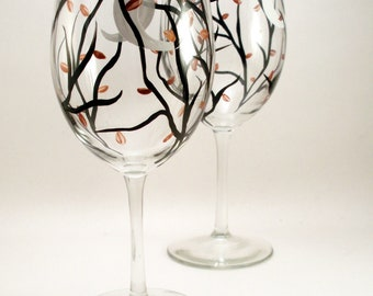 Hand painted wine glasses - crescent moon and Autumn leaves - Fall table setting - Autumn painted glassware - set of 2