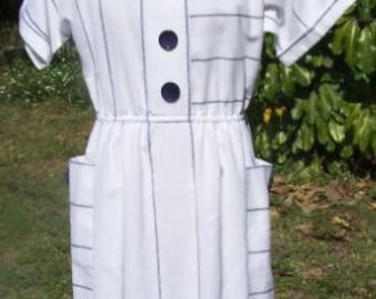 Vintage Lisa 2 Ltd. Dress Size 10 Navy and White Stripes with Jumbo Buttons Nautical Striped Blue Summer Office Business Cute Nautical Beach