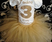 Today I'm Golden birthday set-- rhinestone bling  shirt nb-5t and gold tutu on elastic waist---1year to 5year old