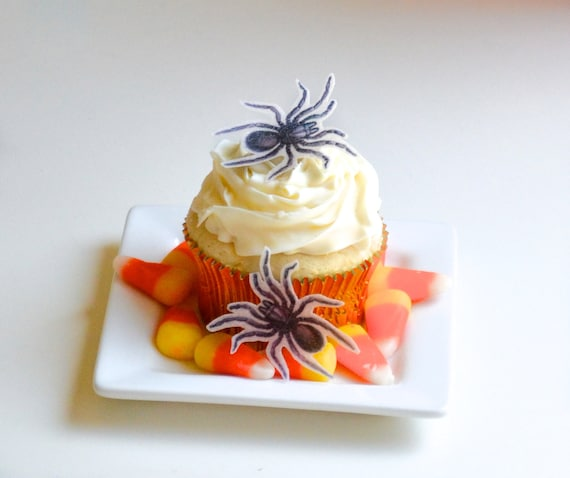 Edible Cake Decorations Halloween : EDIBLE Spiders Cake & Cupcake toppers Halloween