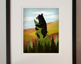 ANY PRINT FRAMED Leaf Peeper Black Bear Autumn Foliage Giclee print Custom Framed 7X9 in 13x15x1 Frame signed
