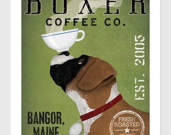 Customizable Personalized - BOXER  Dog COFFEE Company graphic art giclee print  SIGNED Brindle and Cropped - Free Proof