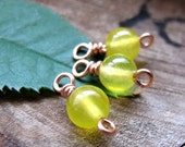 Yellow Bead Drop Dangles - Wire Wraped Agate Gem Charms - Trio Round Bead Set - Jewelry findings for Earrings, Necklace, Pendant